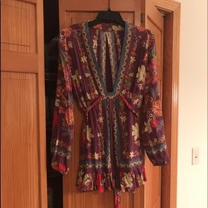 Free People purple floral Violet Hill Tunic Blouse